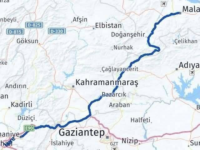 Malatya ile Osmaniye Arası Kaç Km? Kaç Saat? Arası Kaç Km Saat? Nerede Yol Haritası Yakıt, Rota ve Mesafe Hesaplama