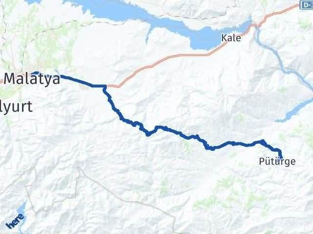 Malatya Pütürge Arası Kaç Km? Yol Haritası - Km Hesaplama Arası Kaç Km Saat? Nerede Yol Haritası Yakıt, Rota ve Mesafe Hesaplama
