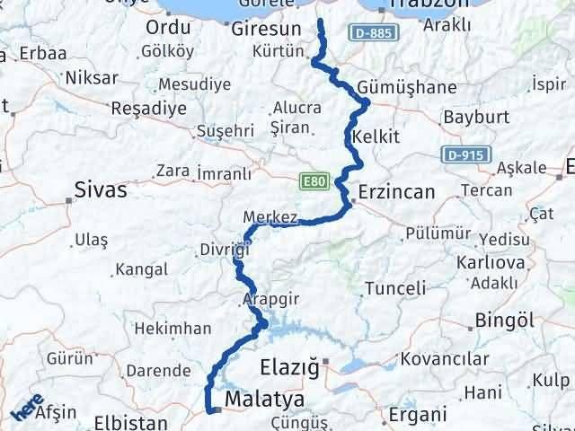 Malatya Şalpazarı Trabzon Arası Kaç Km? - Kmhesaplama.com Arası Kaç Km Saat? Nerede Yol Haritası Yakıt, Rota ve Mesafe Hesaplama