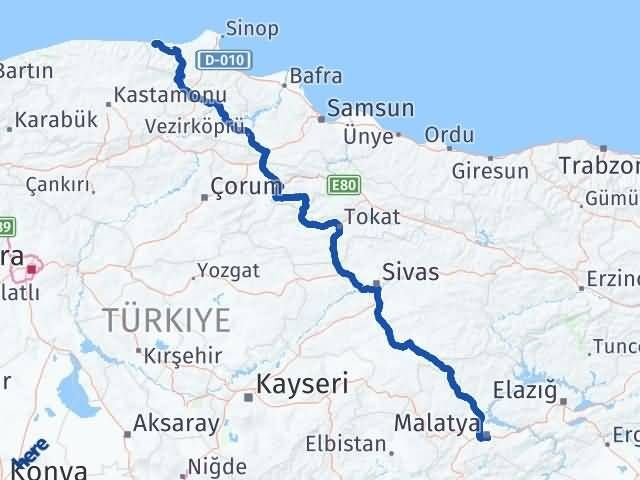 Malatya Türkeli Sinop Arası Kaç Km? - Kmhesaplama.com Arası Kaç Km Saat? Nerede Yol Haritası Yakıt, Rota ve Mesafe Hesaplama