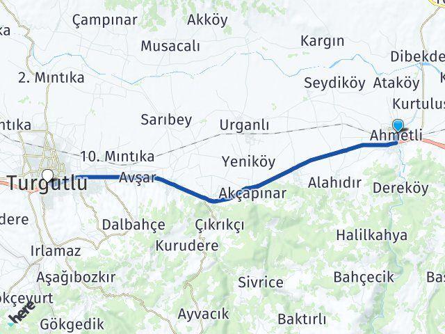 Manisa Ahmetli Turgutlu Arası Kaç Km? Arası Kaç Km Saat? Nerede Yol Haritası Yakıt, Rota ve Mesafe Hesaplama