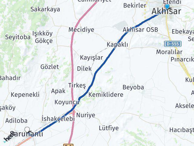 Manisa Akhisar Saruhanlı Arası Kaç Km? Arası Kaç Km Saat? Nerede Yol Haritası Yakıt, Rota ve Mesafe Hesaplama