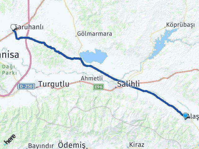 Manisa Alaşehir Saruhanlı Arası Kaç Km? Arası Kaç Km Saat? Nerede Yol Haritası Yakıt, Rota ve Mesafe Hesaplama