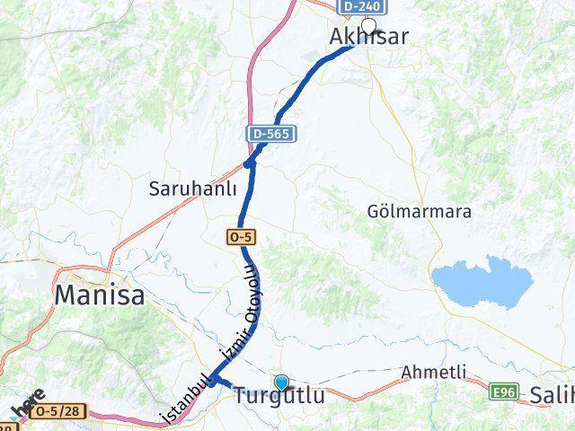 Manisa Turgutlu Akhisar Arası Kaç Km? Arası Kaç Km Saat? Nerede Yol Haritası Yakıt, Rota ve Mesafe Hesaplama
