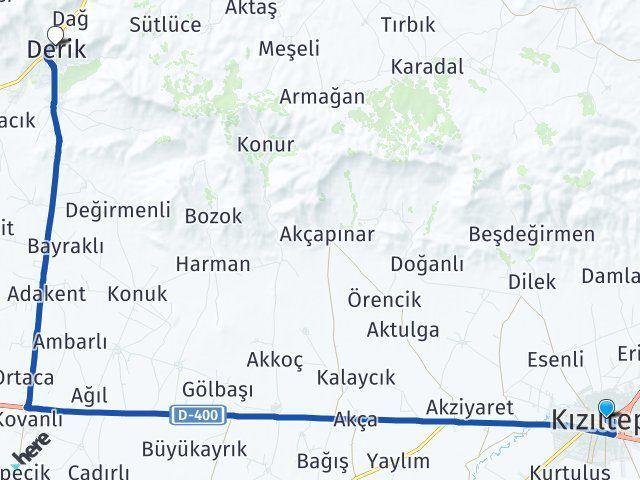 Mardin Kızıltepe Derik Arası Kaç Km? Arası Kaç Km Saat? Nerede Yol Haritası Yakıt, Rota ve Mesafe Hesaplama