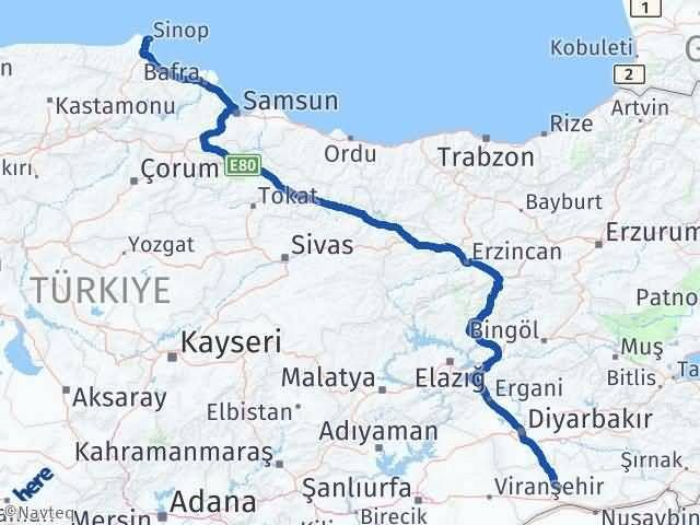 Mardin Sinop Arası Kaç Km - Kaç Saat? Arası Kaç Km Saat? Nerede Yol Haritası Yakıt, Rota ve Mesafe Hesaplama