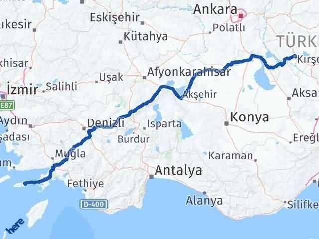 Muğla Datça   Kırşehir Arası Kaç Km? Arası Kaç Km Saat? Nerede Yol Haritası Yakıt, Rota ve Mesafe Hesaplama