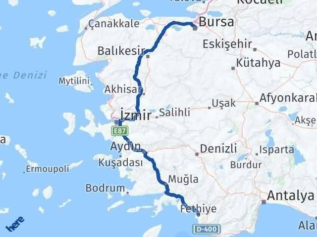 Muğla Fethiye   Bursa Arası Kaç Km? Arası Kaç Km Saat? Nerede Yol Haritası Yakıt, Rota ve Mesafe Hesaplama