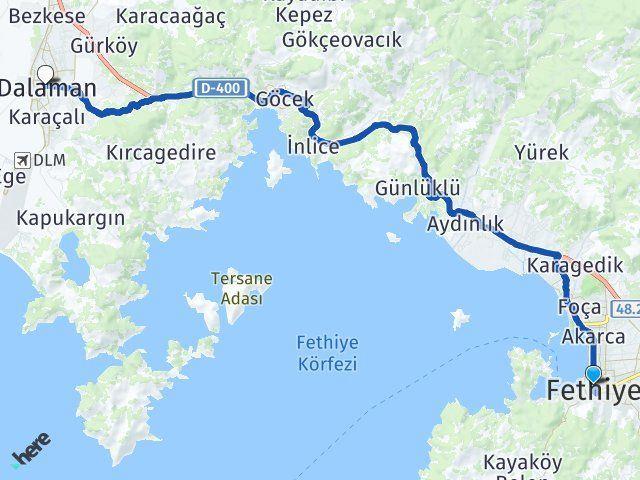 Muğla Fethiye Dalaman Arası Kaç Km? Arası Kaç Km Saat? Nerede Yol Haritası Yakıt, Rota ve Mesafe Hesaplama