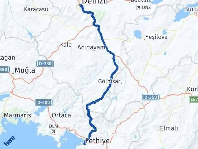 Muğla Fethiye Denizli Arası Kaç Km? Arası Kaç Km Saat? Nerede Yol Haritası Yakıt, Rota ve Mesafe Hesaplama
