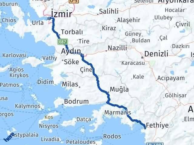 Muğla Fethiye   İzmir Arası Kaç Km? Arası Kaç Km Saat? Nerede Yol Haritası Yakıt, Rota ve Mesafe Hesaplama