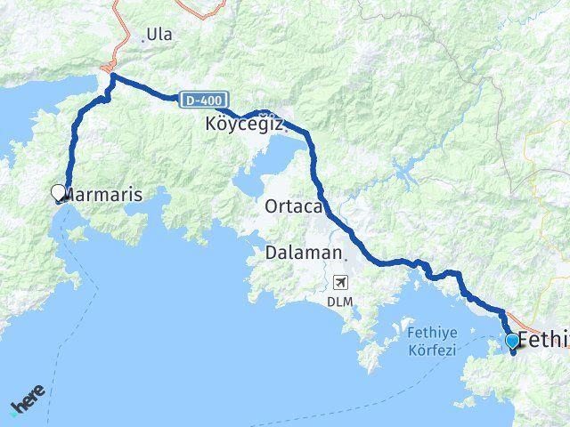 Muğla Fethiye Marmaris Arası Kaç Km? Arası Kaç Km Saat? Nerede Yol Haritası Yakıt, Rota ve Mesafe Hesaplama