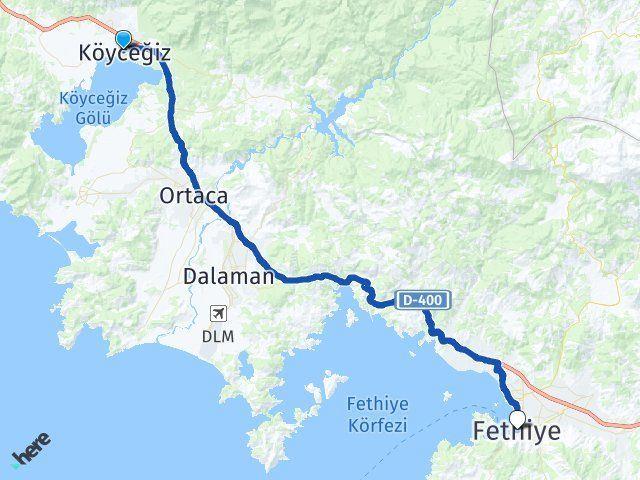 Muğla Köyceğiz Fethiye Arası Kaç Km? Arası Kaç Km Saat? Nerede Yol Haritası Yakıt, Rota ve Mesafe Hesaplama
