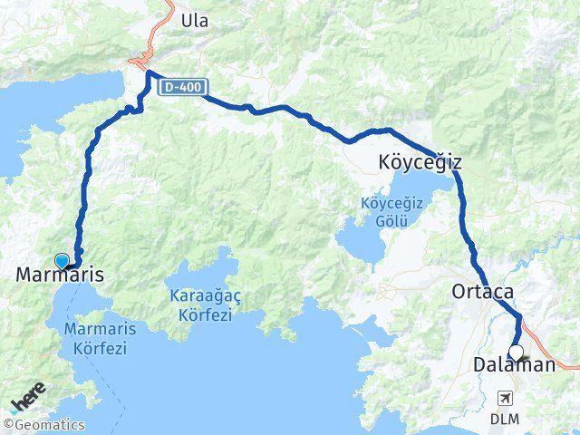 Muğla Marmaris Dalaman Arası Kaç Km? Arası Kaç Km Saat? Nerede Yol Haritası Yakıt, Rota ve Mesafe Hesaplama