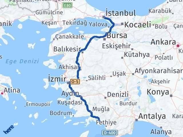Muğla Ortaca   İstanbul Arası Kaç Km? Arası Kaç Km Saat? Nerede Yol Haritası Yakıt, Rota ve Mesafe Hesaplama