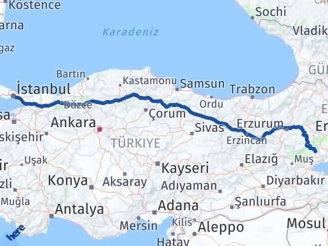 Muş Malazgirt   İstanbul Arası Kaç Km? Arası Kaç Km Saat? Nerede Yol Haritası Yakıt, Rota ve Mesafe Hesaplama