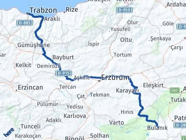 Muş Malazgirt   Trabzon Arası Kaç Km? Arası Kaç Km Saat? Nerede Yol Haritası Yakıt, Rota ve Mesafe Hesaplama