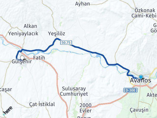 Nevşehir Avanos Gülşehir Arası Kaç Km? Arası Kaç Km Saat? Nerede Yol Haritası Yakıt, Rota ve Mesafe Hesaplama