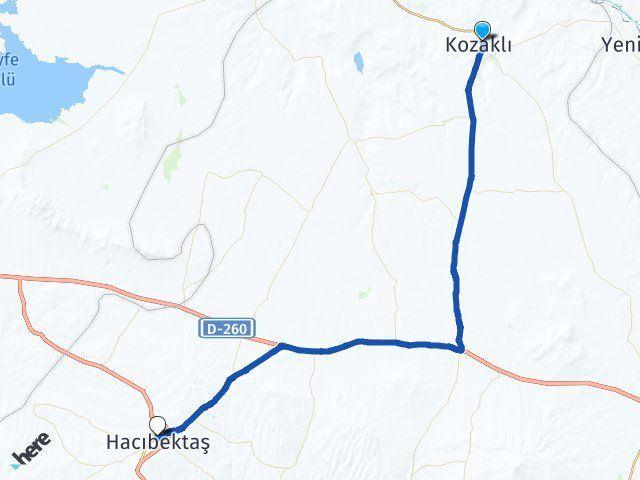 Nevşehir Kozaklı Hacıbektaş Arası Kaç Km? Arası Kaç Km Saat? Nerede Yol Haritası Yakıt, Rota ve Mesafe Hesaplama