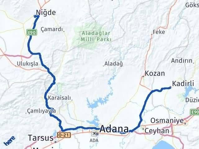Niğde Kadirli Osmaniye Arası Kaç Km? - Km hesaplama Arası Kaç Km Saat? Nerede Yol Haritası Yakıt, Rota ve Mesafe Hesaplama