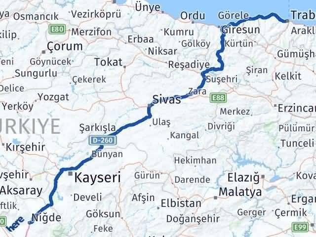 Niğde Trabzon Arası Kaç Km? Kaç Saat? - Km hesaplama Arası Kaç Km Saat? Nerede Yol Haritası Yakıt, Rota ve Mesafe Hesaplama
