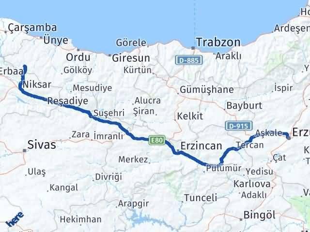 Ordu Akkuş Erzurum Arası Kaç Km? Arası Kaç Km Saat? Nerede Yol Haritası Yakıt, Rota ve Mesafe Hesaplama