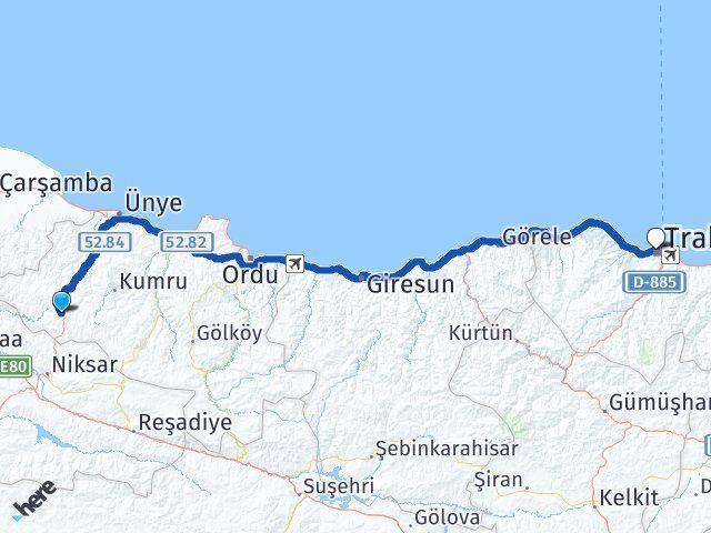Ordu Akkuş Trabzon Arası Kaç Km? Arası Kaç Km Saat? Nerede Yol Haritası Yakıt, Rota ve Mesafe Hesaplama