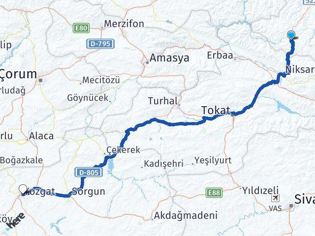 Ordu Akkuş Yozgat Arası Kaç Km? Arası Kaç Km Saat? Nerede Yol Haritası Yakıt, Rota ve Mesafe Hesaplama
