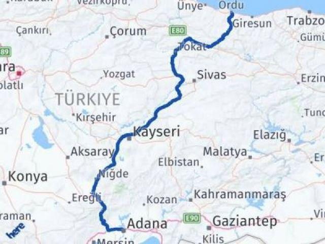Ordu Altınordu Adana Arası Kaç Km? Arası Kaç Km Saat? Nerede Yol Haritası Yakıt, Rota ve Mesafe Hesaplama