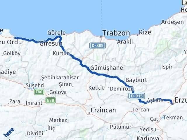 Ordu Altınordu Erzurum Arası Kaç Km? Arası Kaç Km Saat? Nerede Yol Haritası Yakıt, Rota ve Mesafe Hesaplama