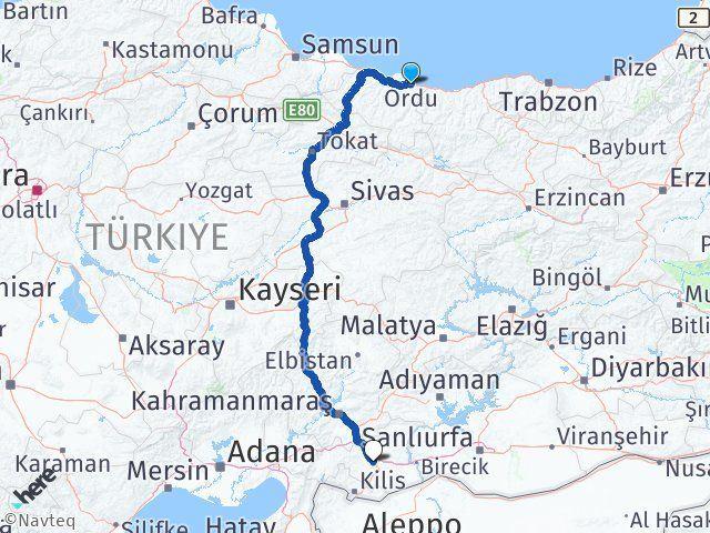 Ordu Altınordu Gaziantep Arası Kaç Km? Arası Kaç Km Saat? Nerede Yol Haritası Yakıt, Rota ve Mesafe Hesaplama