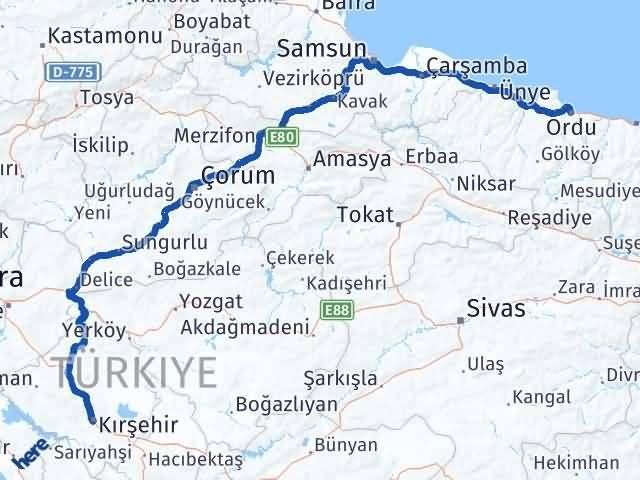 Ordu Altınordu Kırşehir Arası Kaç Km? Arası Kaç Km Saat? Nerede Yol Haritası Yakıt, Rota ve Mesafe Hesaplama