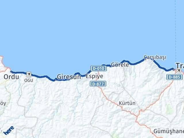 Ordu Altınordu Trabzon Arası Kaç Km? Arası Kaç Km Saat? Nerede Yol Haritası Yakıt, Rota ve Mesafe Hesaplama