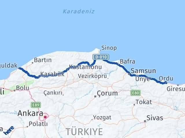 Ordu Altınordu Zonguldak Arası Kaç Km? Arası Kaç Km Saat? Nerede Yol Haritası Yakıt, Rota ve Mesafe Hesaplama