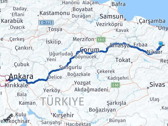 Ordu Aybastı Ankara Arası Kaç Km? Arası Kaç Km Saat? Nerede Yol Haritası Yakıt, Rota ve Mesafe Hesaplama