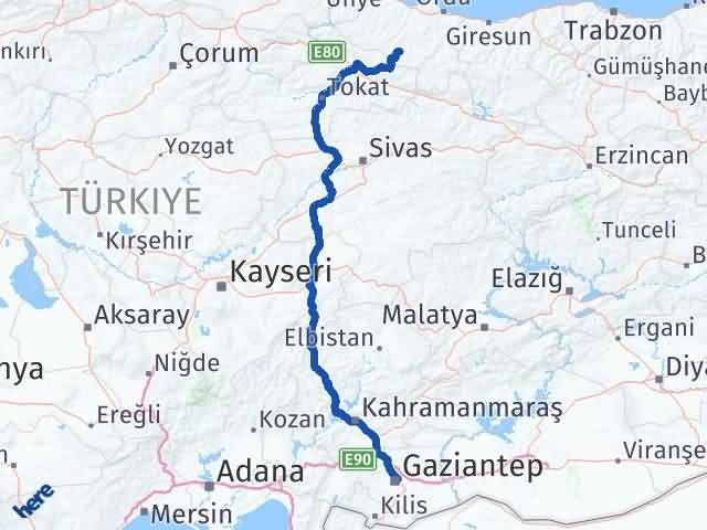 Ordu Aybastı Gaziantep Arası Kaç Km? Arası Kaç Km Saat? Nerede Yol Haritası Yakıt, Rota ve Mesafe Hesaplama