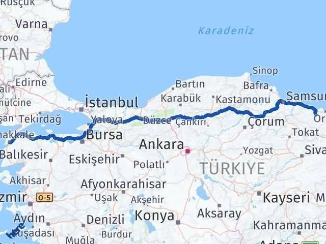 Ordu Çamaş Çanakkale Arası Kaç Km? Arası Kaç Km Saat? Nerede Yol Haritası Yakıt, Rota ve Mesafe Hesaplama