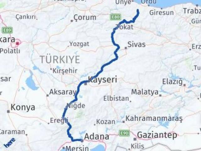 Ordu Çatalpınar Adana Arası Kaç Km? Arası Kaç Km Saat? Nerede Yol Haritası Yakıt, Rota ve Mesafe Hesaplama