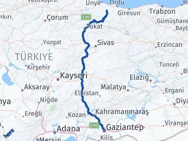 Ordu Çatalpınar Gaziantep Arası Kaç Km? Arası Kaç Km Saat? Nerede Yol Haritası Yakıt, Rota ve Mesafe Hesaplama