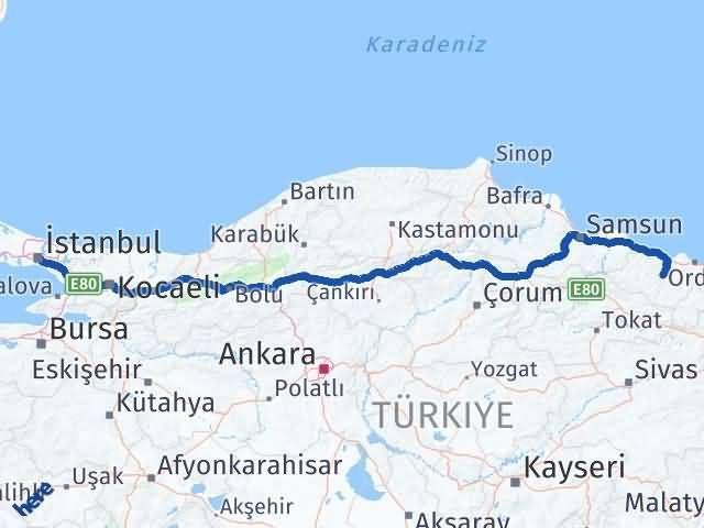 Ordu Çatalpınar İstanbul Arası Kaç Km? Arası Kaç Km Saat? Nerede Yol Haritası Yakıt, Rota ve Mesafe Hesaplama