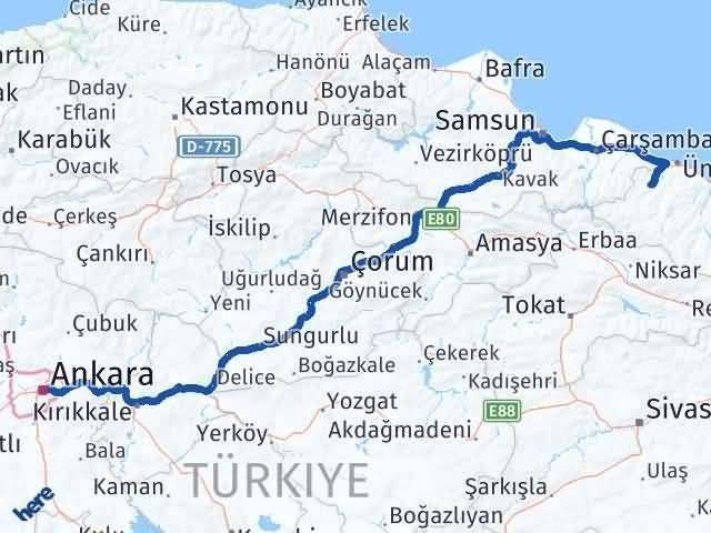 Ordu Çaybaşı Ankara Arası Kaç Km? Arası Kaç Km Saat? Nerede Yol Haritası Yakıt, Rota ve Mesafe Hesaplama