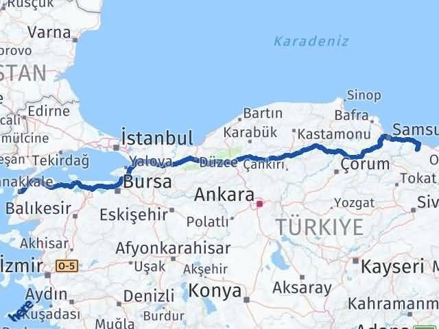 Ordu Çaybaşı Çanakkale Arası Kaç Km? Arası Kaç Km Saat? Nerede Yol Haritası Yakıt, Rota ve Mesafe Hesaplama