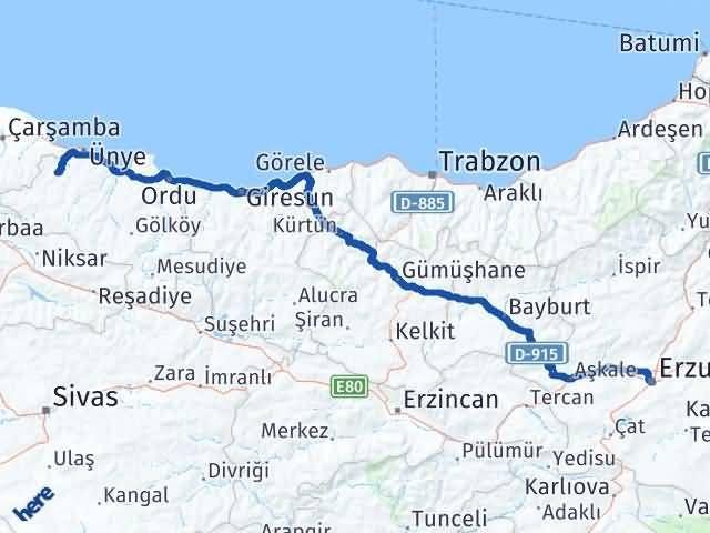 Ordu Çaybaşı Erzurum Arası Kaç Km? Arası Kaç Km Saat? Nerede Yol Haritası Yakıt, Rota ve Mesafe Hesaplama