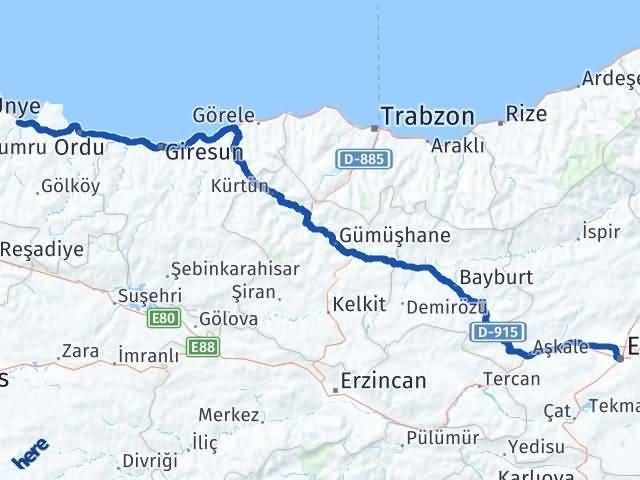 Ordu Fatsa Erzurum Arası Kaç Km? Arası Kaç Km Saat? Nerede Yol Haritası Yakıt, Rota ve Mesafe Hesaplama
