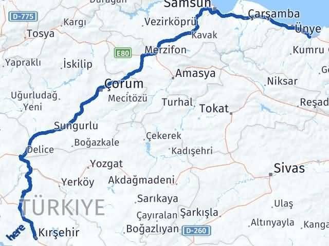 Ordu Fatsa Kırşehir Arası Kaç Km? Arası Kaç Km Saat? Nerede Yol Haritası Yakıt, Rota ve Mesafe Hesaplama
