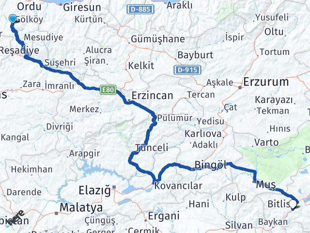 Ordu Gölköy Bitlis Arası Kaç Km? Arası Kaç Km Saat? Nerede Yol Haritası Yakıt, Rota ve Mesafe Hesaplama