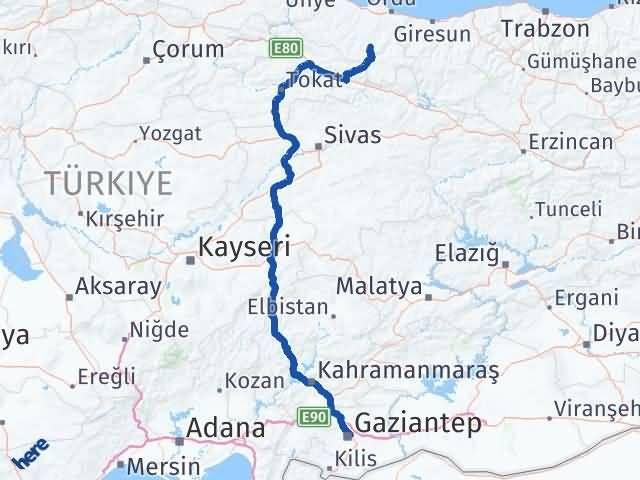 Ordu Gölköy Gaziantep Arası Kaç Km? Arası Kaç Km Saat? Nerede Yol Haritası Yakıt, Rota ve Mesafe Hesaplama