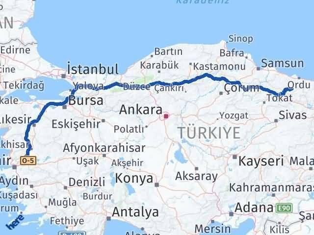 Ordu Gölköy Manisa Arası Kaç Km? Arası Kaç Km Saat? Nerede Yol Haritası Yakıt, Rota ve Mesafe Hesaplama