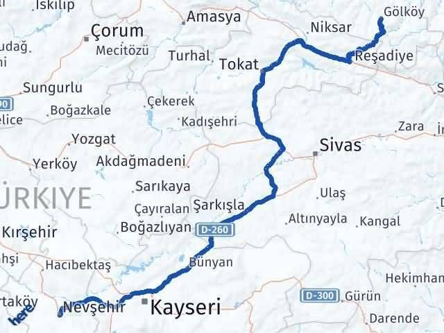 Ordu Gölköy Nevşehir Arası Kaç Km? Arası Kaç Km Saat? Nerede Yol Haritası Yakıt, Rota ve Mesafe Hesaplama