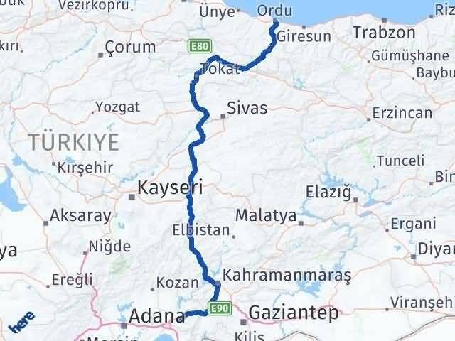 Ordu Osmaniye Arası Kaç Km - Kaç Saat? Arası Kaç Km Saat? Nerede Yol Haritası Yakıt, Rota ve Mesafe Hesaplama